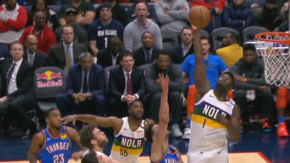 Zion sends shot out of bounds with monster block