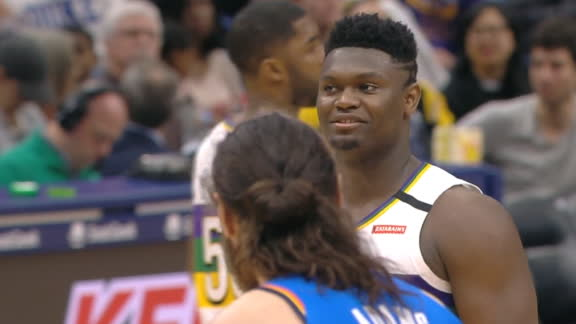 Zion bullies Adams down low for and-1 bucket