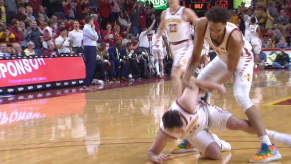 Iowa State walk-on gets tackled by a teammate after step-back 3