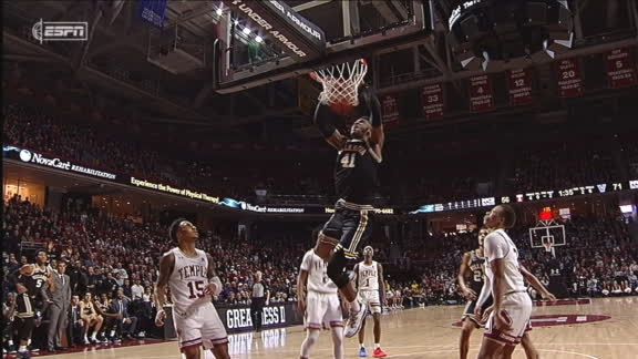 Bey soars through Temple's D for huge slam