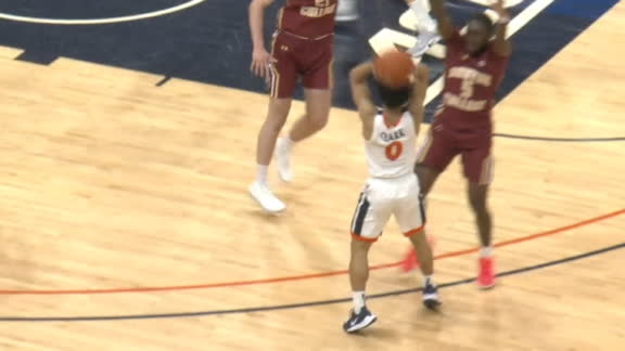 Virginia accidentally hits 3 on alley-oop attempt