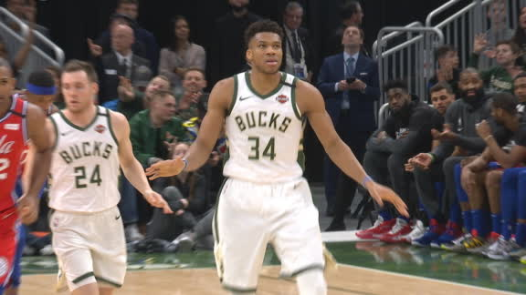 Giannis shimmies after hitting the 3