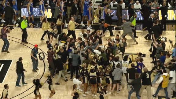 Wake Forest fans storm the court after upsetting No. 7 Duke