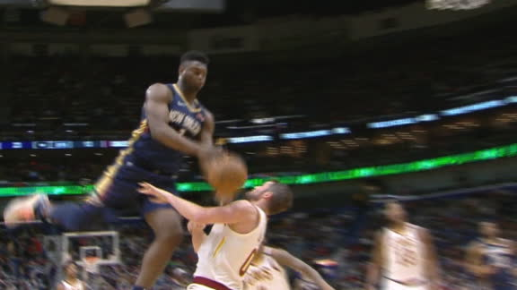 Zion tries to jump through Kevin Love
