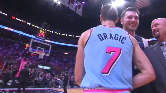 Dragic drills 3, shares laugh with Luka