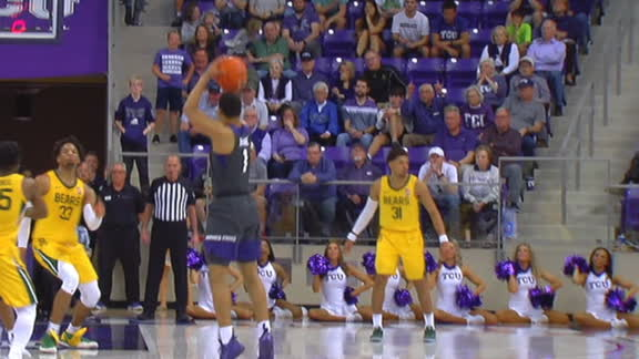 TCU fans erupt after Bane's 3-pointer