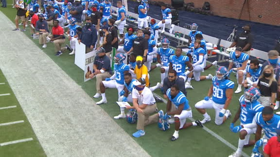 Ole Miss, Florida players kneel in unity prior to kickoff