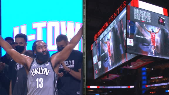 Harden has moment with fans after Rockets' video tribute