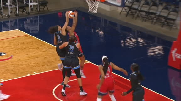 Parker follows up her block with a sweet pass to Copper