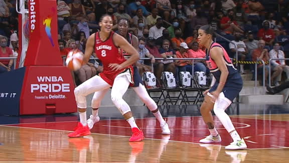 Aces' Cambage laughs after scoring so easily