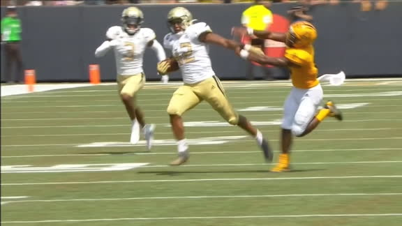 GT defender breaks out stiff-arm, then uses teammate as a shield for TD