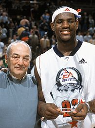 Sonny Vaccaro, left, and LeBron James