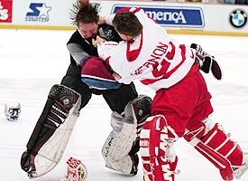 Patrick Roy and Mike Vernon