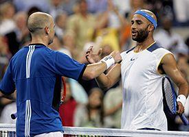 Andre Agassi and James Blake