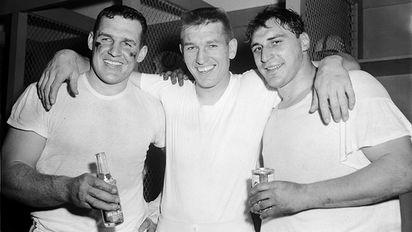 Steve Myhra, Johnny Unitas, and Alan Ameche