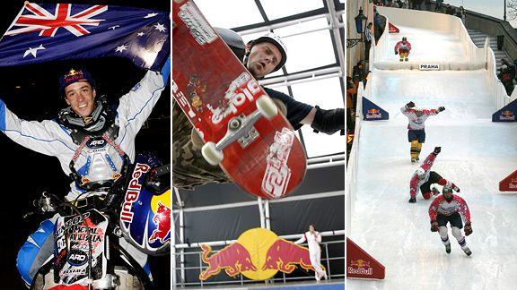 Robbie Maddison, skateboarders, ice crashed downhill racers