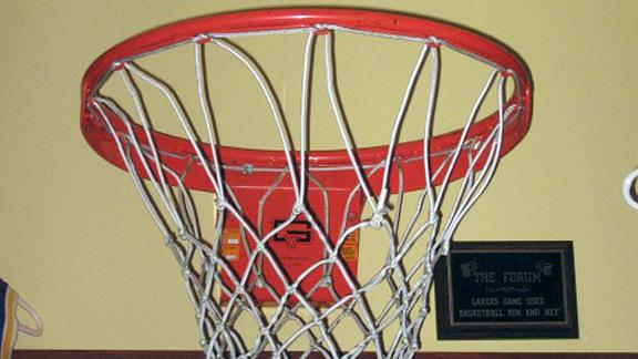 Forum basketball rim and net