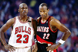 Clyde Drexler and Michael Jordan