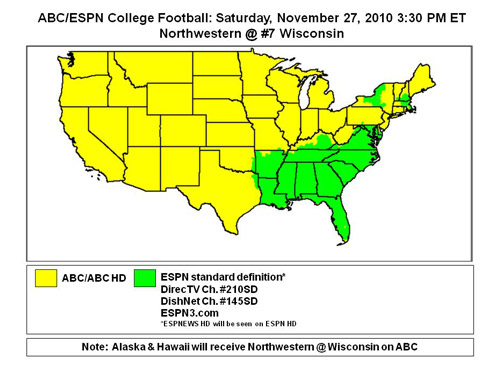 College Football TV maps: Week 13