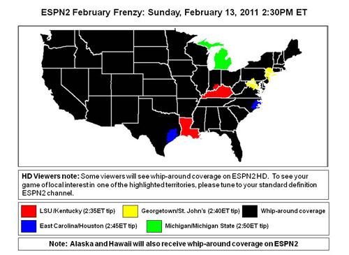 Women's basketball February Frenzy 2011 coverage maps on