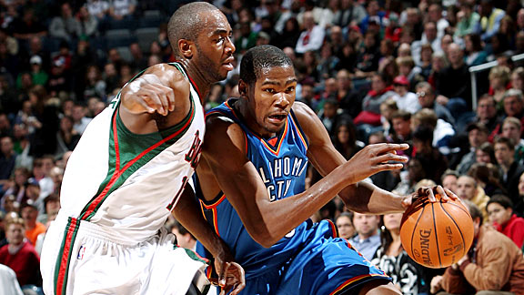 Luc Richard Mbah a Moute and Kevin Durant