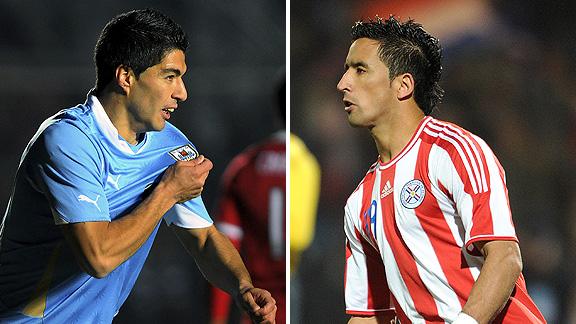 Luis Suarez and Lucas Barrios