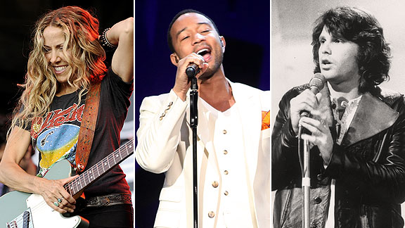 Sheryl Crow, John Legend, and Jim Morrison
