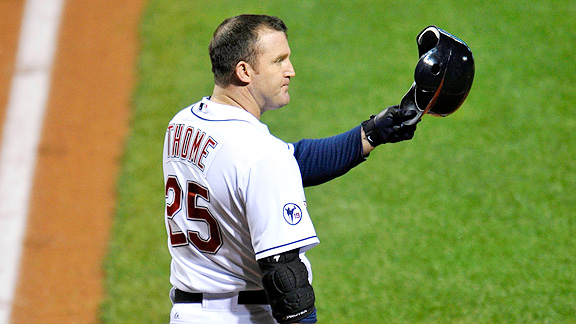 Jim Thome gives fans their due in response to the standing O they gave him in Cleveland.