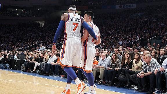 Carmelo Anthony and Jeremy Lin