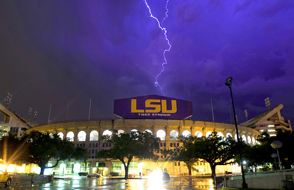 LSU's Tiger Stadium with the old lighting system