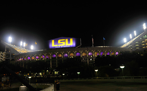 LSU football Tiger Stadium with the new lighting system
