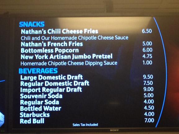 Brooklyn Nets beer menu