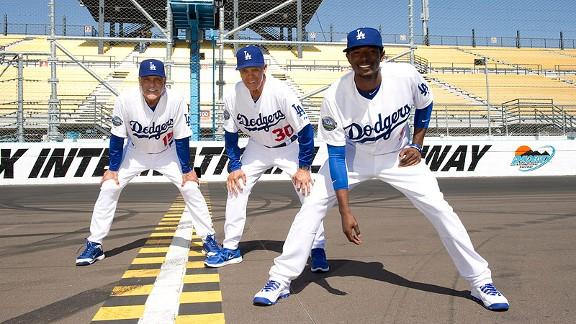 Dodgers players at Phoenix International Raceway
