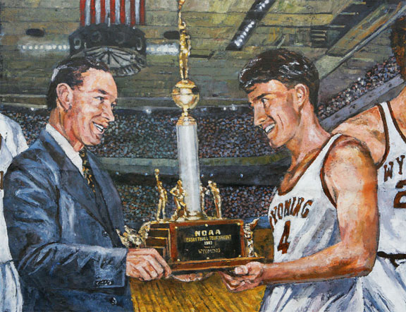 Everett Shelton and Wyoming Cowboys NCAA Tournament painting by Opie Otterstad