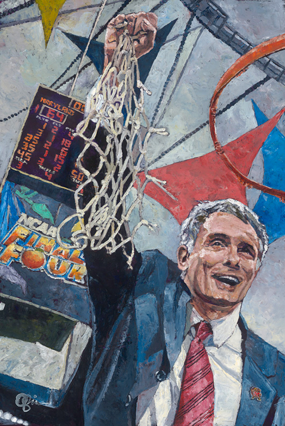 Gary Williams and Maryland Terrapins NCAA Tournament painting by Opie Otterstad