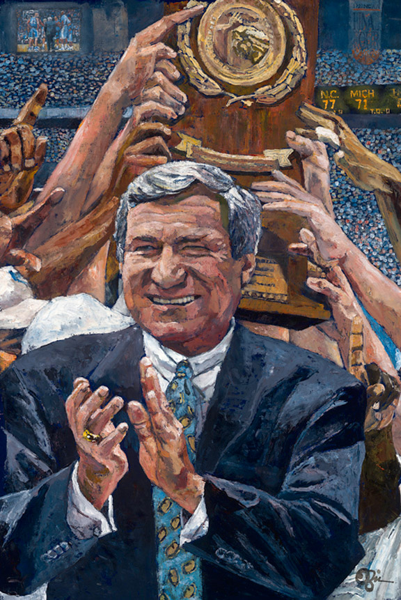 Dean Smith and North Carolina Tar Heels NCAA Tournament painting by Opie Otterstad
