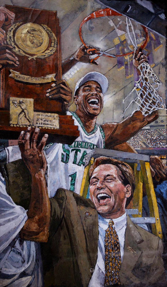 Tom Izzo and Michigan State Spartans NCAA Tournament painting by Opie Otterstad