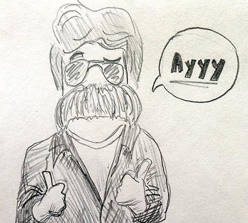 Joel Quenneville mustache on Fonzie