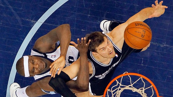Tiago Splitter and Zach Randolph