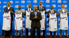 Doc Rivers, Matt Barnes, Darren Collison, Jared Dudley, Ryan Hollins, Chris Paul, J.J. Reddick
