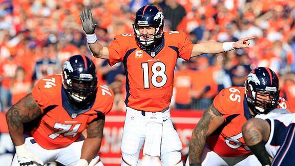 Peyton Manning #18 of the Denver Broncos