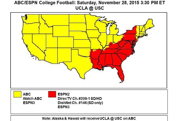 2015 ESPN College Football TV maps