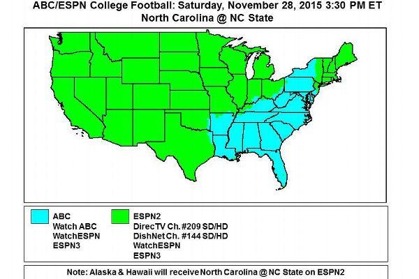 2015 ESPN College Football TV maps Tv Map on
