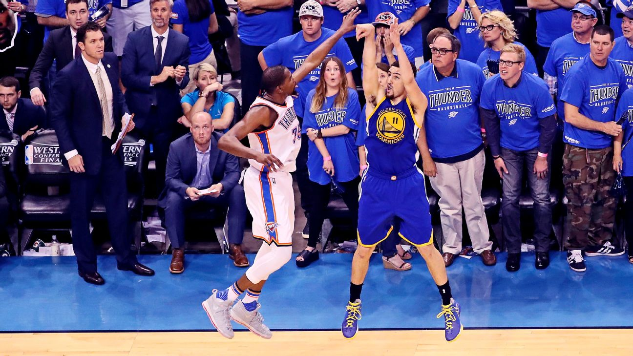 klay thompson s heroics helped golden state warriors land kevin durant golden state warriors blog espn golden state warriors land kevin durant