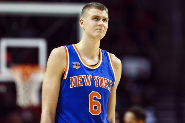Kristaps Porzingis in a home jersey