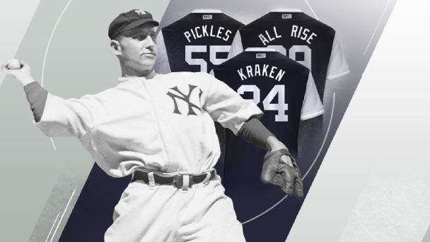 The Yankees haven t worn home jerseys without pinstripes in more than a  century. As they prepare to take the field without them for MLB s Players  Weekend 7193f9c1369