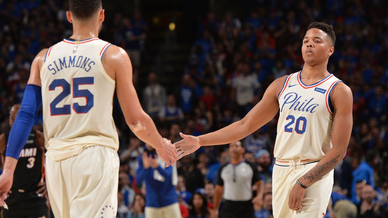 Image result for 76ers run through Heat in Game 1 win in Philadelphia