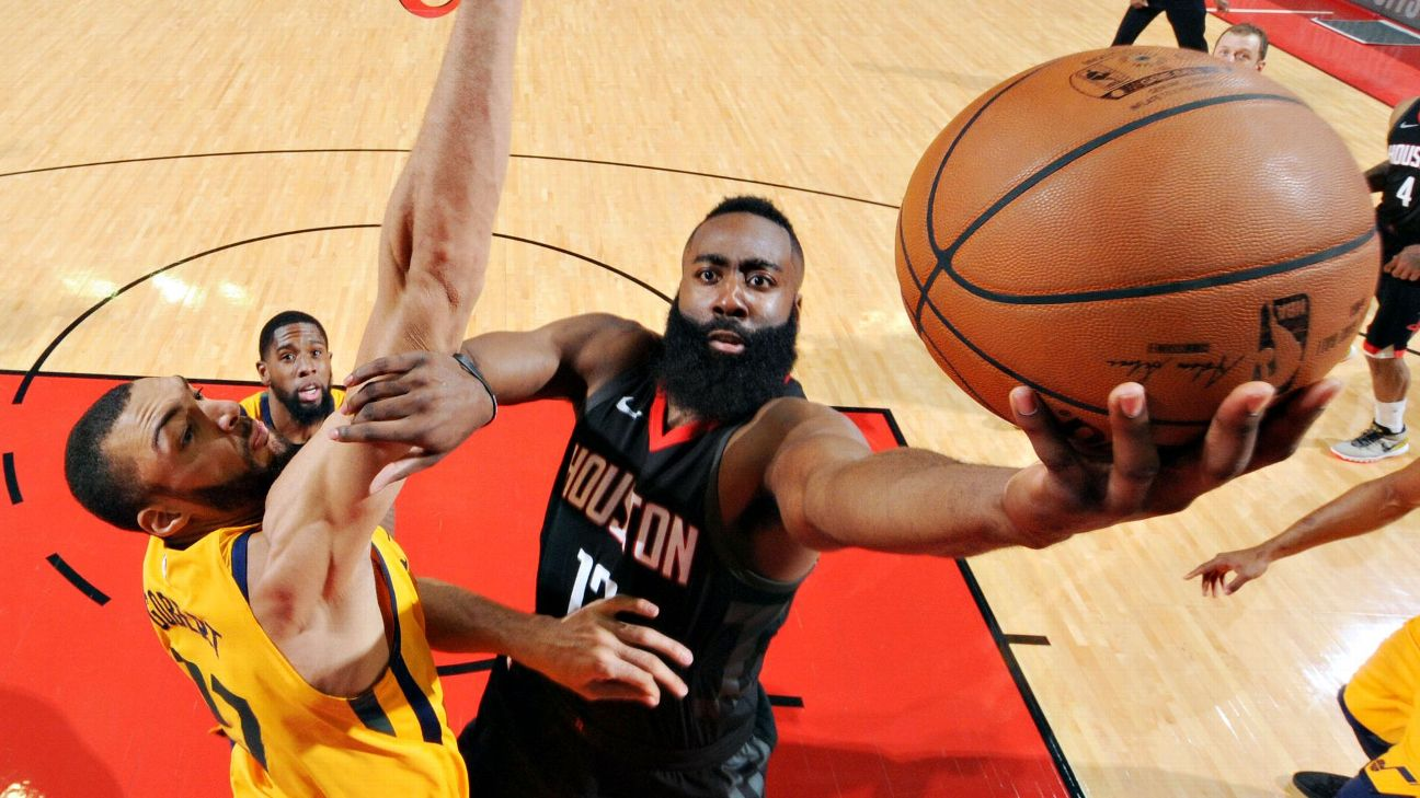 60ecba491a1 James Harden pours in 41 points to lead Game 1 rout of Jazz