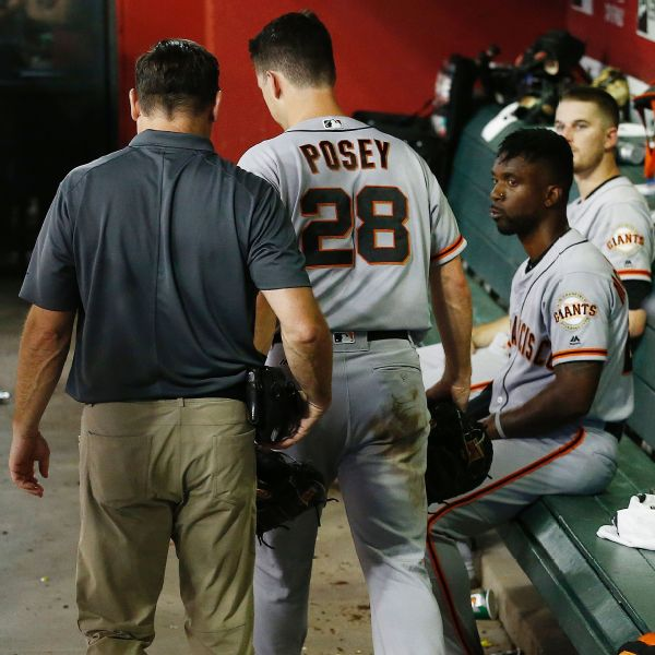 9cd96ff2d7361 Giants  Buster Posey checked out for concussion after foul ball off ...