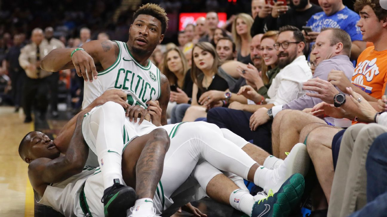 57c8fa99 Marcus Smart of Boston Celtics ejected after scuffle with Cavs' JR Smith